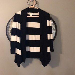 WHBM Black + White Striped Cardigan
